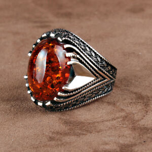 Handmade pure 925 SILVER ring Box Amber stone for Men all sizes wedding RRP £40