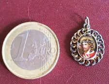 Petite Medaille Scapulaire Christ Couronne Epine Vierge Fixe Verre XIX CHRISTIAN