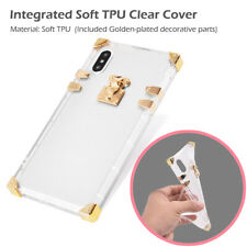 Slim Thin Luxury Crystal Square Transparent Clear Soft Case Cover For iPhone