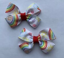 Lot 2 Rainbow Sunshine Flowers Dainty Pigtail Hair Bows Set Baby Toddler Cute