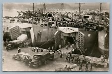 WWII NAPLES FRANCE PORT RED CROSS TRUCKS SHIPS VINTAGE REAL PHOTO POSTCARD RPPC