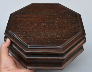 "10"" Folk Chinese rosewood Wood handcrafted octagon Jewelry Box Interlayer Boxes"