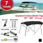 Standard Bimini Top 4 Bow Boat Cover Black 61-66 Wide 8ft Long W Rear Poles
