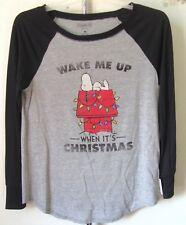 Black and Grey Christmas Shirt Wake me Up When Its Christmas Medium Long Sleeves