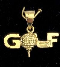 14k Yellow Gold Solid Golf Ball Golf Charm Pendant 1.2g