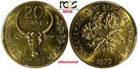 Madagascar 1970 20 Francs FAO PCGS MS66 TOP GRADED COIN KM# 12