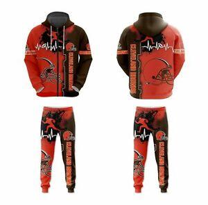 Cleveland Browns 2Pcs Zip Hoodie Tracksuits Set Jogger Sweatpants Men Sweat Suit