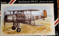 Special Hobby 1/72 Koolhoven FK-51 Dutch unmade complete sealed bag kit  - RARE!
