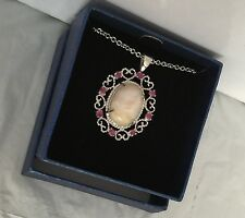 "QVC Silver Plated Pendant Beauty Pink Opal Ruby Stone Chain Length 18"" To 21"""