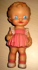 "VINTAGE 8.5"" SUN RUBBER RUTH E. NEWTON DOLL IN PINK DRESS w/SQUEAKER WORKS"