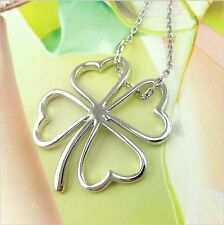 1Pc Fashion Metal Silver Four Leaf Clover Pendant Jewelry Pendant Necklace New