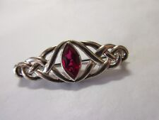 925 silver brooch celtic interest with red setting