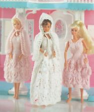 BARBIE Doll Knitting Pattern 4 Ply Copy Bridesmaid & Bride Dresses 28-30 cms