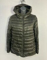 WOMENS UNIQLO SIZE MEDIUM KHAKI CASUAL WINTER DOWN PADDED RAIN COAT HOOD JACKET