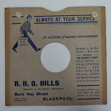 """78rpm 10"""" card gramophone record sleeve / cover R H O HILLS , BLACKPOOL"""