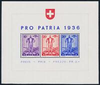 SCHWEIZ 1936, Block 2, tadellos postfrisch, Mi. 75,-