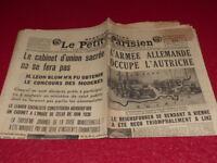 """[PRESSE AVANT-GUERRE] """"LE PETIT PARISIEN"""" 13 MARS 1938 / Hitler Blum Mickey"""