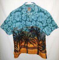 Hawaiian Pineapple Connection Short Sleeve Size L Flower Coconut Tree Pattern