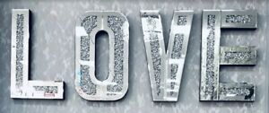 Mirrored Diamond Crushed Crystal Mirror Diamante LOVE Letters Wall Art LOVE