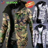 US Men's Warm Camo Jacket Winter Hooded Military Army Zipper Parka Coat Overcoat