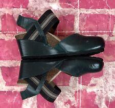 AETREX Dark Green Leather Slingback Wedge Mary Jane Clogs Womens Size 5