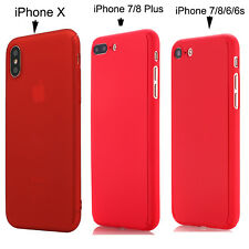 iPhone X 6 7 8 Plus Ultra-thin Shockproof Hard Case Cover Tempered Glass F Apple Red for iPhone 6