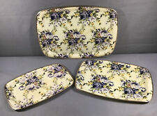 Set 3 Vintage Retro Fiberglass ? Floral Serving Trays Metal Trim Graduated Sizes