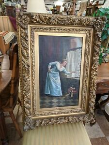 Oil painting antique original Lady In Blue