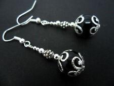 Orecchini di bigiotteria nero pendente placcato argento