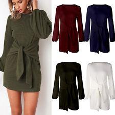 Women Bandage Long Sleeve Mini Dress Bodycon Party Sweater Casual Winter Dresses