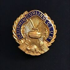 New listing VINTAGE CURLING PIN DAUPHIN CURLING CLUB (Birks missing screw on back)