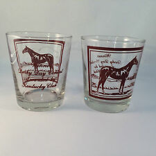 Kentucky Club Derby Day Contest Winner Whiskey Glasses Low Ball Set of 2 VTG