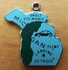 Vintage Wells Michigan Wolverine State Enamel Sterling Silver Map Charm