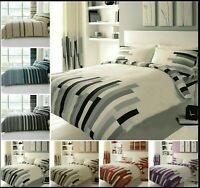 Luxury Block & Stripe Printed Duvet Quilt Cover Reversible Bedding Sets All Size
