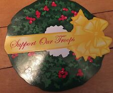Support Our Troops Christmas Yellow Ribbon Wreath Car Magnet