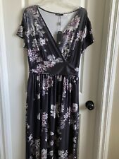 ouges Summer Black Floral Cleavage Short Hand Maxi dress