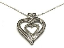 """18"""" Double Heart .47ctw Cluster Round Diamond 10K White Gold Necklace GV122220"""