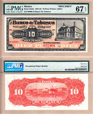 PMG Superb GEM UNC67 1901 Mexico 10 Pesos SPECIMEN El Banco De Tabasco. PS425s