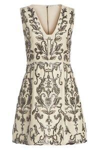 Alice + Olivia Prescilla Embellished Silk Dress Ivory Size 10 NWT