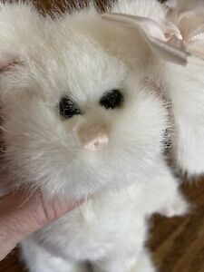 """Bearington Bunny 10"""" puff white with pink bows new"""