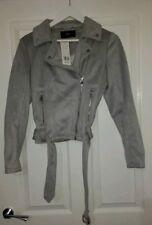 Tesco F&F Suede Style Zara Biker Jacket Grey Size 8 Fits 10 Bnwt