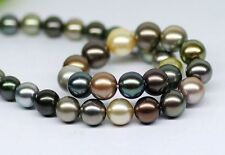 """18""""11-12mm natural south sea genuine black Gold peacock gray pearl necklace AA"""