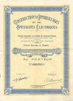 Constructions d`Appareillages et de Specialites Electriques SA, accion, 1929