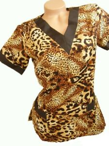 New Women Nursing Scrub Brown Cheetah Jaguar Poly Top  Size XS