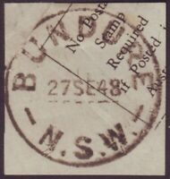 "NSW POSTMARK ""BUNDURE"" DATED 1948 - POST OFFICE CLOSED 1973 (A11092)"