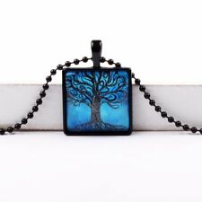 Living Tree of Life Glass Cabochon Tibet Silver Chain Pendant Necklace Square UK