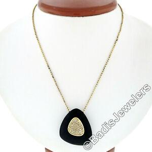 Roberto Coin Capri 18k Gold Plated Over Silver Ebony Diamond Ring & Pendant Set