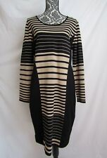 Sioni Sweater Dress Long Tunic Silky Knit Sheath Black Beige Stripe Size XL