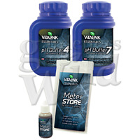3PACK pH BUFFER + METER STORE VITALINK pH4 pH7 solution probe storage hydroponic