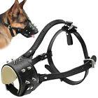 NO Biting Leather Padded Dog Muzzle Studded Adjustable for Medium Dogs Bulldog